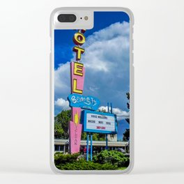 The Blue Sky Motel, Vintage Motel Signs, Bozeman, Montana Clear iPhone Case