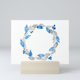 Blue and Gray Watercolor Leaf Wreath Mini Art Print