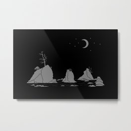 Moon Over Three Graces Grey on Black Metal Print