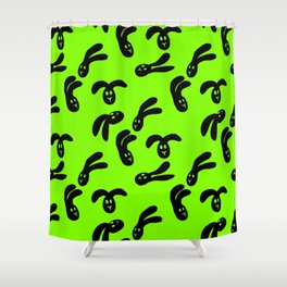 Flop Bunny Pattern Black Green Shower Curtain