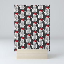 Owl Santas in Grey Mini Art Print