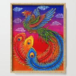 Colorful Fenghuang Chinese Phoenix Rainbow Bird Serving Tray