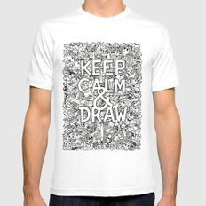 Keep Calm and Draw White Mens Fitted Tee X-LARGE