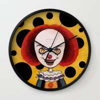 pennywise Wall Clocks featuring Pennywise Cheese by ajd.abelita