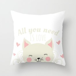 All You Need Is Love And A Cat Or Two...Or Five Cat Lover Throw Pillow