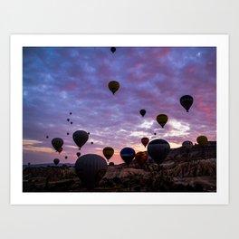 Cappadocia Balloons Flying Art Print