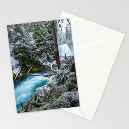 Blue River Waterfall Flows Through Snowy Forest Stationery Cards