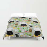 lab Duvet Covers featuring Witch's lab by Ana Linea
