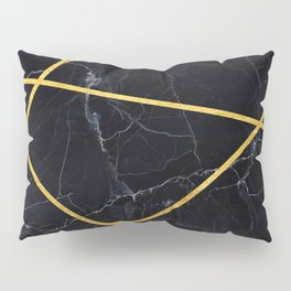 Black marble with gold lines Pillow Sham