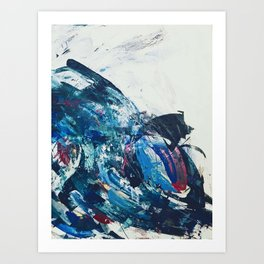 Flourish: a bold, colorful abstract piece in purple, gold, blues and white Art Print