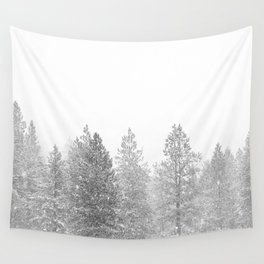 Snow Day // Black and White Winter Landscape Photography Snowing Whiteout Blizzard Wall Tapestry