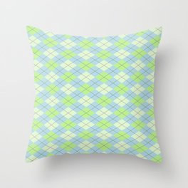 Lime Moss Sky Argyle Throw Pillow