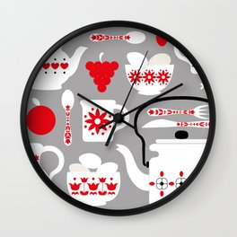 Retro Kitchen Design Art Print Wall Clock
