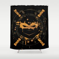 ninja turtle Shower Curtains featuring Michelangelo Turtle by Sitchko Igor