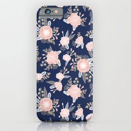 Floral bouquet pastel navy pink florals painted painted metallic pattern basic minimal pattern print iPhone Case