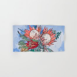 Painterly Vase of Proteas, Wattles, Banksias and Eucayptus on Blue Hand & Bath Towel