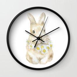 Bunny Rabbit with Daisy Wreath Watercolor Wall Clock