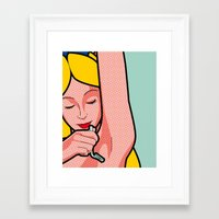the secret life of heroes Framed Art Prints featuring The secret life of heroes - Alice Shave by Greg-Guillemin