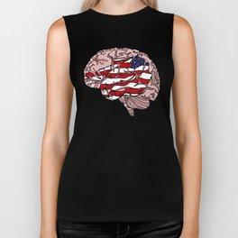 """""""Flag Mind"""" - American Flag, Human Brain - Labor Day - www.davidjdiamant.com Biker Tank"""