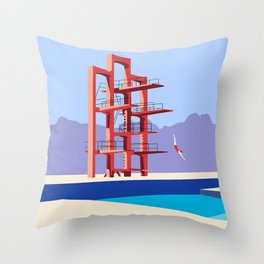 Soviet Modernism: Diving tower in Etchmiadzin, Armenia Throw Pillow