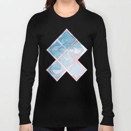 Abstract Triangulated XOX Design Long Sleeve T-shirt