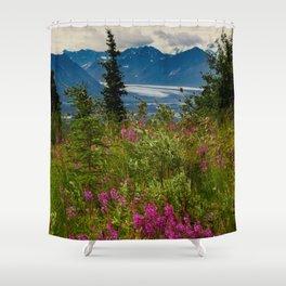 Alaskan Glacier & Fireweed Shower Curtain