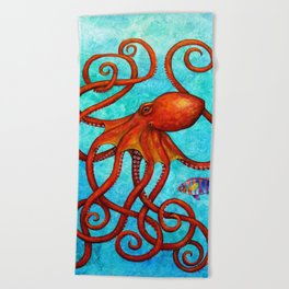 Distracted - Octopus and fish Beach Towel