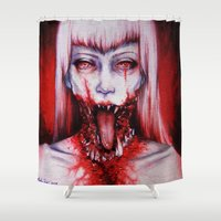 gore Shower Curtains featuring phobic by marziiporn