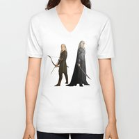 legolas V-neck T-shirts featuring Legolas & Thranduil by rdjpwns