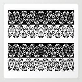 Black and white lace pattern . Art Print