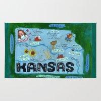 kansas city Area & Throw Rugs featuring KANSAS by Christiane Engel