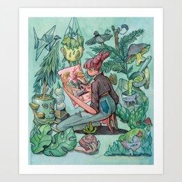 Droste Watercolor - Green Art Print