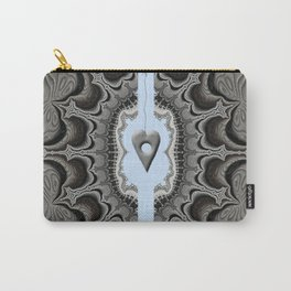 FRACTALS, silver and blue, 3d look, modern abstract Carry-All Pouch