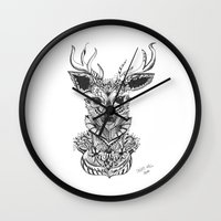 reindeer Wall Clocks featuring REINDEER by Drifa Reynis