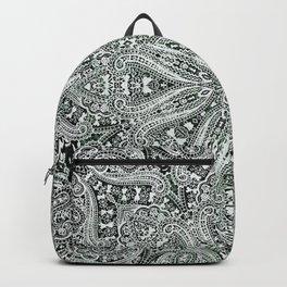 big paisley mandala in black and white Backpack