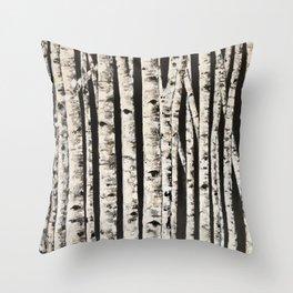 Nighttime in the birch Throw Pillow