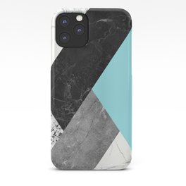 Black and White Marbles and Pantone Island Paradise Color iPhone Case