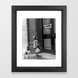 'Strictly No Elephants' vintage humorous child verses the world black and white photograph / black and white photography Framed Art Print
