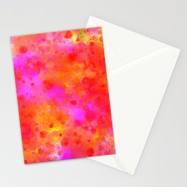 Watercolor Painting Bright Red & Summer Pink Abstract Paint Splashes Stationery Cards
