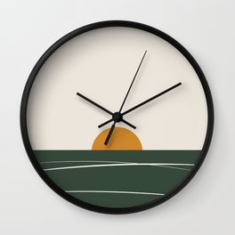 Abstract Green Sunset Wall Clock