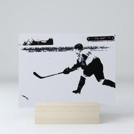 He shoots, He scores! - Hockey Player Mini Art Print