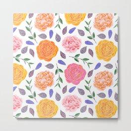 Modern pink yellow orange watercolor leaves floral Metal Print