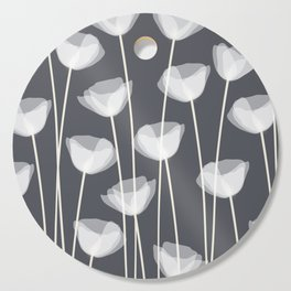 White Poppies Cutting Board