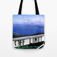 philippines Tote Bags featuring OFF LIMIT (Philippines) by Julie Maxwell