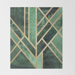 Art Deco Emerald Throw Blanket