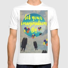 Vintage Quotes Collection -- Let Your Imagination Fly Mens Fitted Tee MEDIUM White