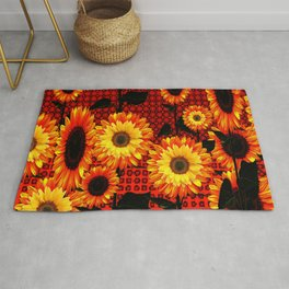 GRAPHIC DARK SUNFLOWERS ON RED COLOR PATTERN Rug