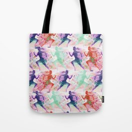 Watercolor women runner pattern with red mint and dark purple Tote Bag