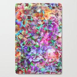 Rainbow Hydrangea Doodle Cutting Board