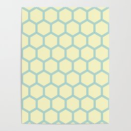 Bright Yellow Blue  Geometrical Pattern Design Poster